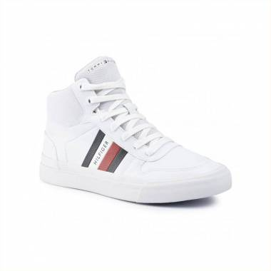Tommy Hilfiger Core Corporate Sneakers in camoscionylon bianco con righe iconiche